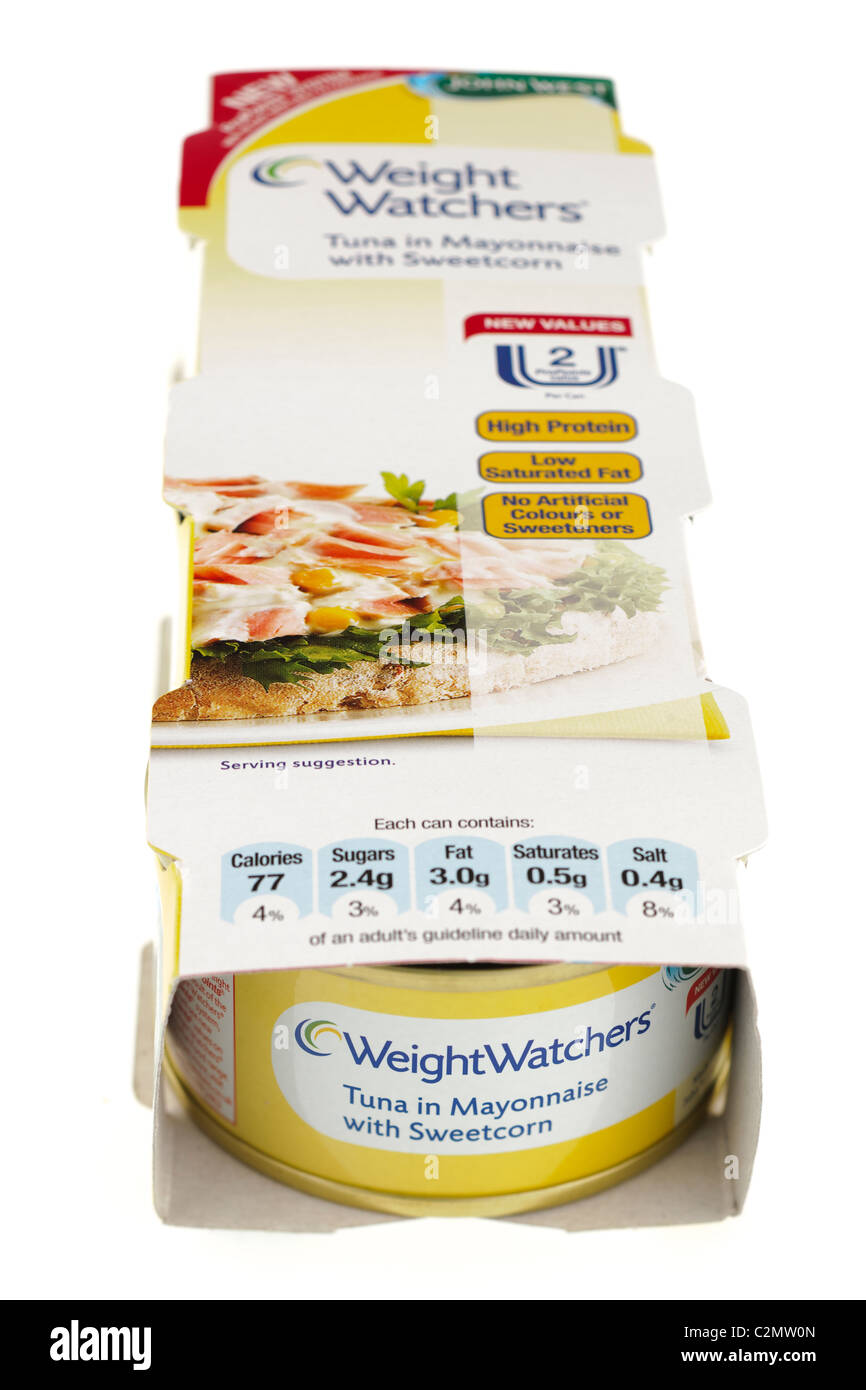 Three can pack of Weight  Watchers tuna in Mayonnaise with sweetcorn - Stock Image