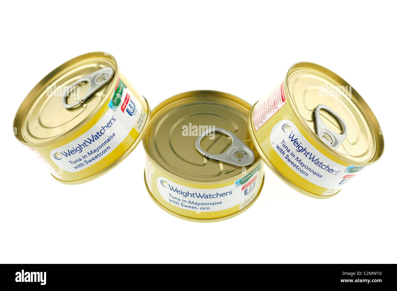 Three cans of Weight Watchers tuna in Mayonnaise with sweetcorn - Stock Image
