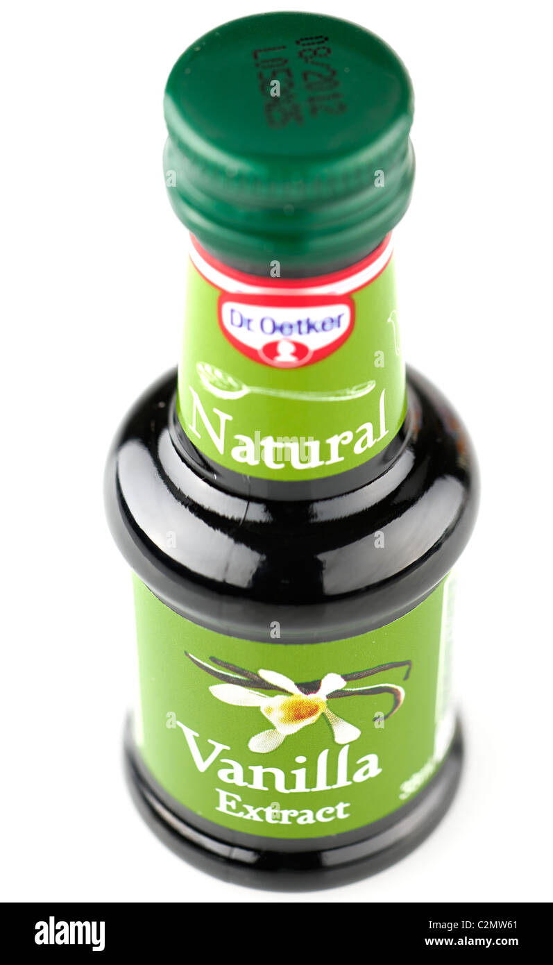 Small 38 milliliter bottle of Dr Oetker natural Vanilla extract - Stock Image