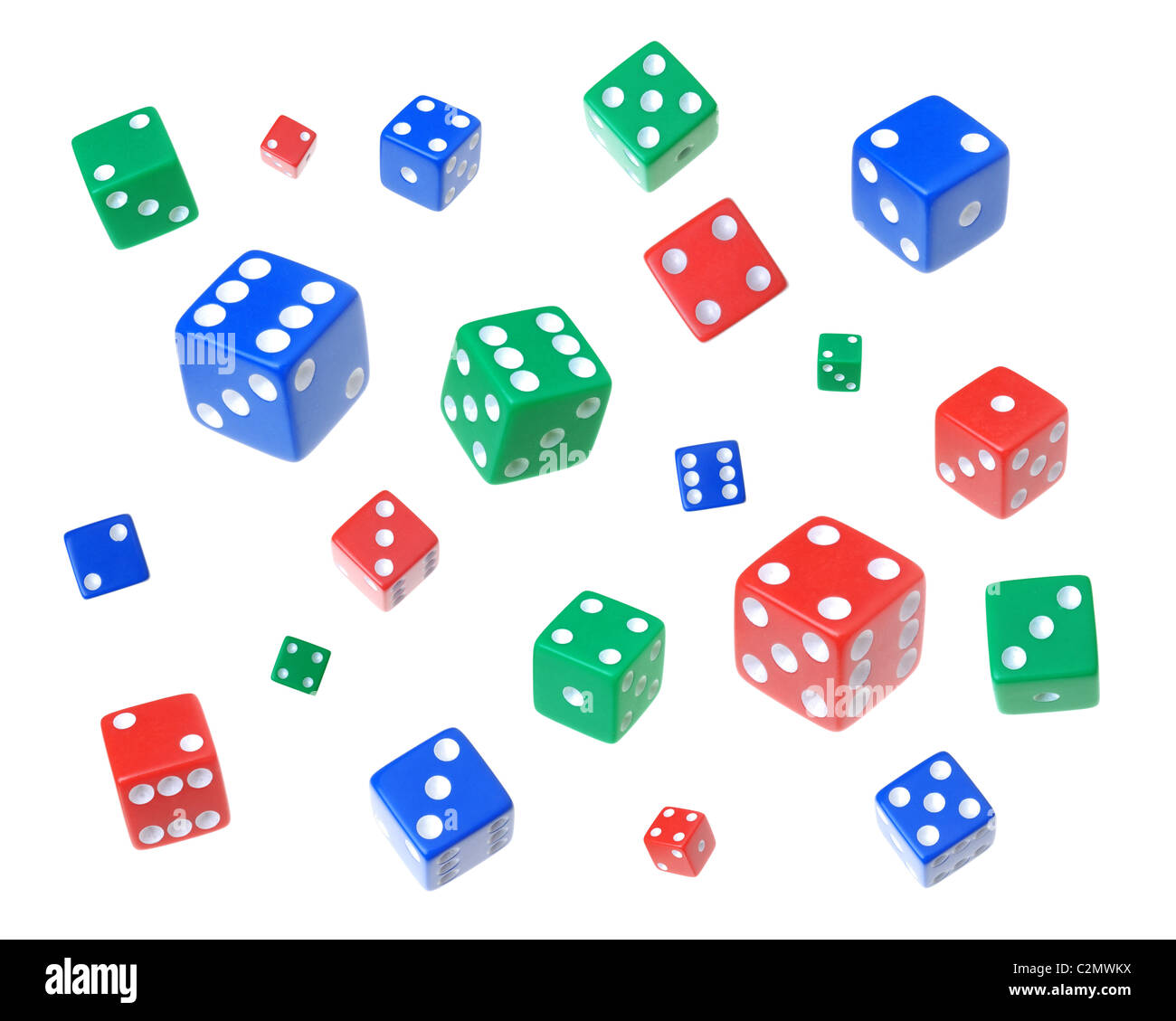 dice in primary colors - Stock Image
