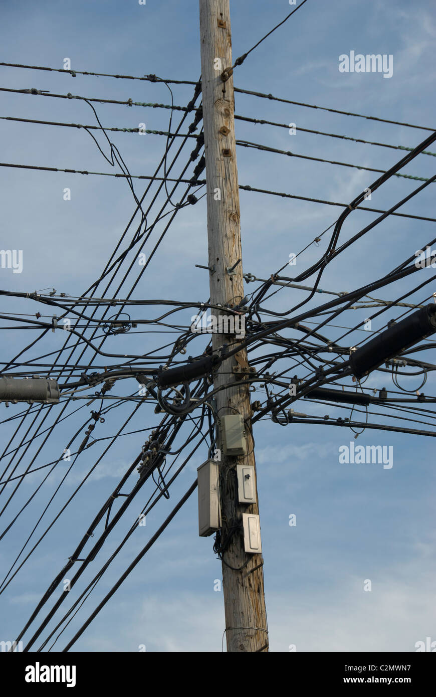Overhead Power Lines Messy Bundles Of Electrical Cables