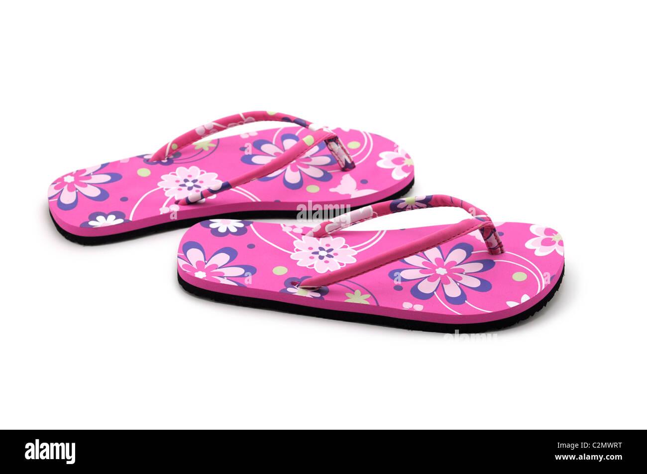 Summer Sandals, Pink Flip Flops, Flowers, Floral Design, Floral Print - Stock Image
