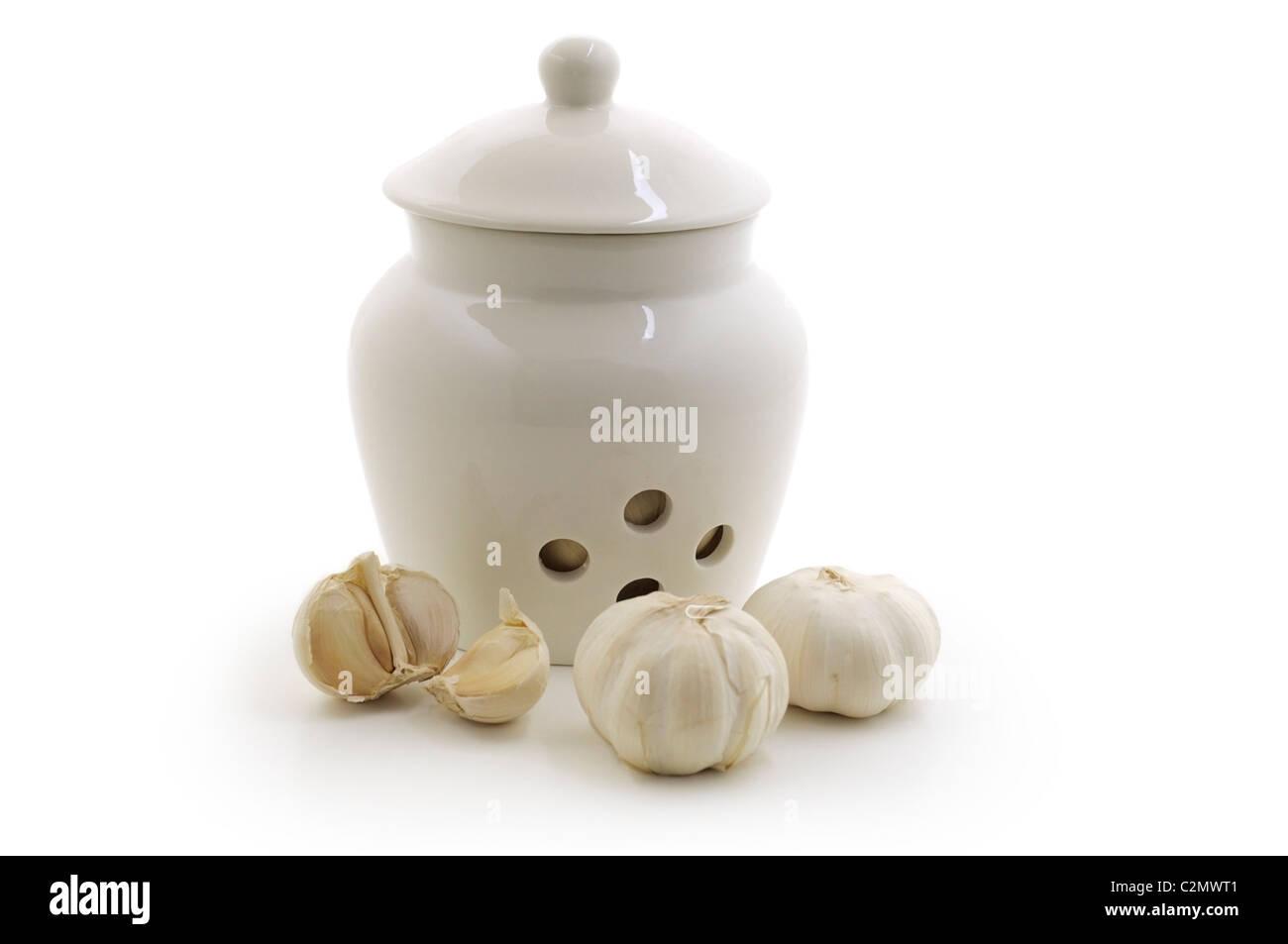 Garlic Cloves and Pot - Stock Image