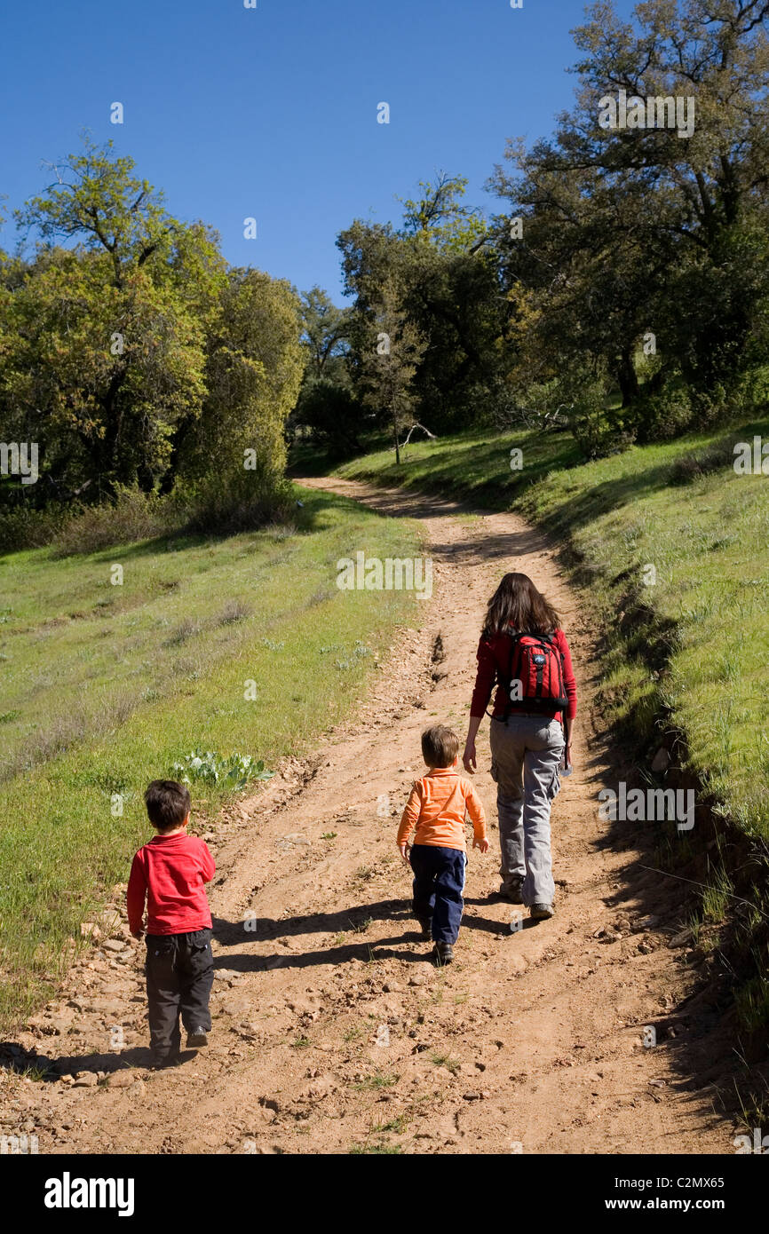 Mother and two sons, 3 and 4 years old, hiking, Santa Ysabel Open Space, San Diego County, California - Stock Image