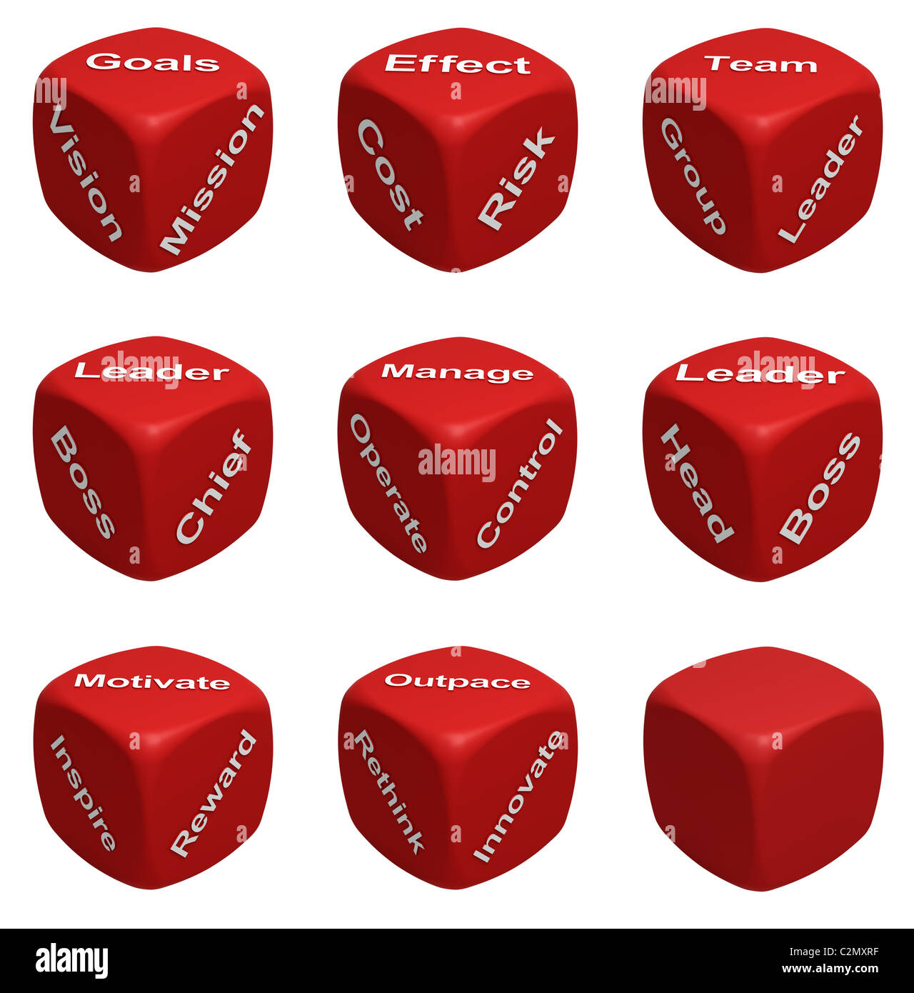 Red Dice Collection with words devoted to Management - Stock Image