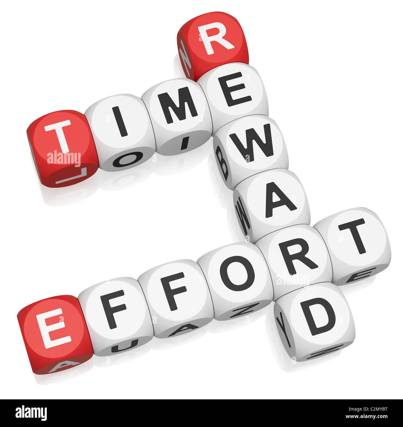 Time Effort Money crossword on white background - Stock Image