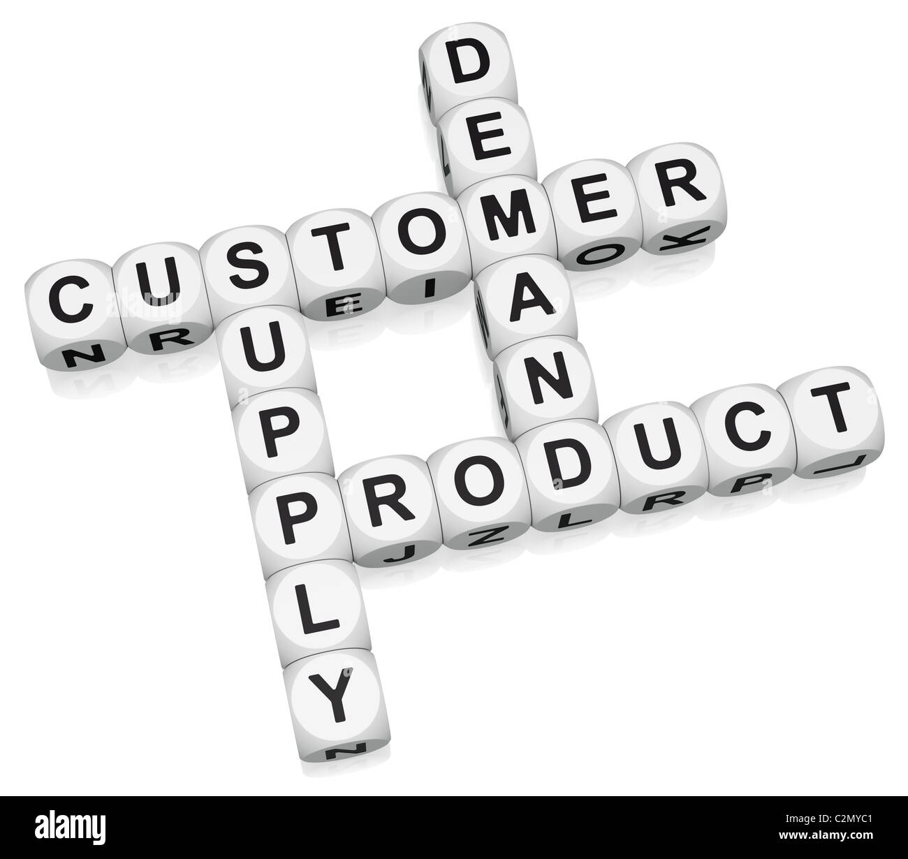Product retail cycle crossword on white background - Stock Image