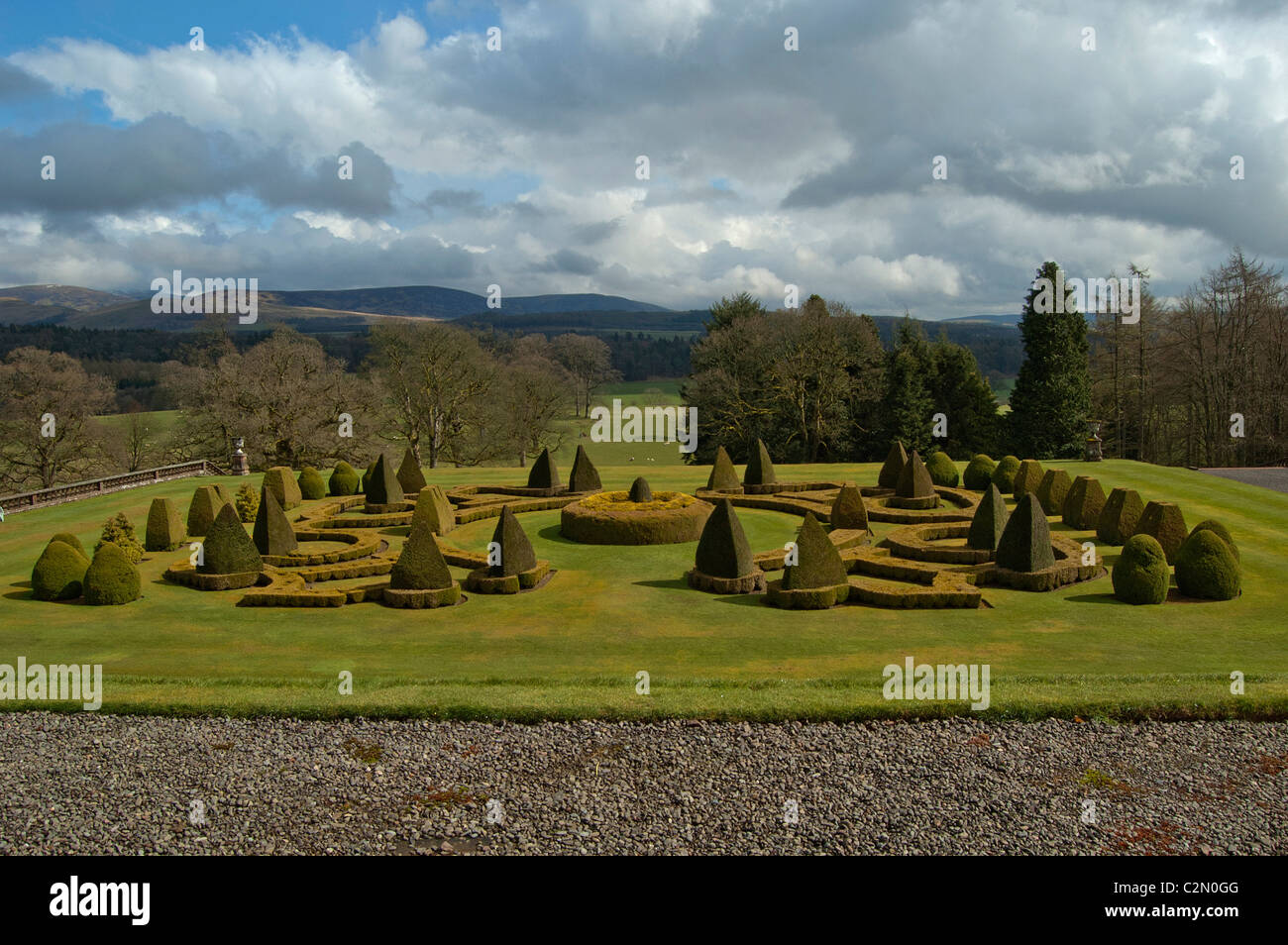 View of the gardens at Drumlanrig castle - Stock Image