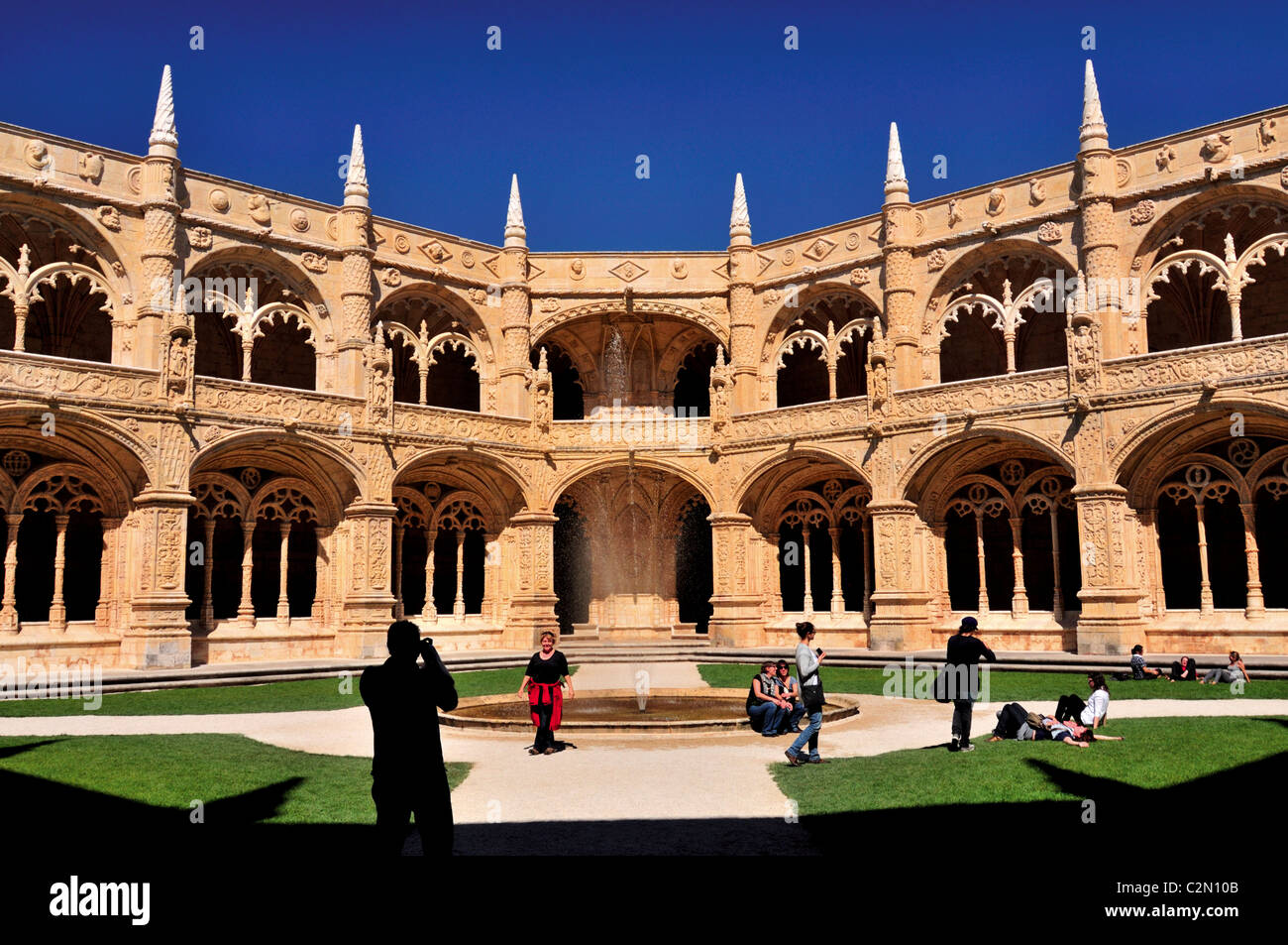 Portugal, Lisbon: Cloister of Monastery of St. Jerome in Belem - Stock Image