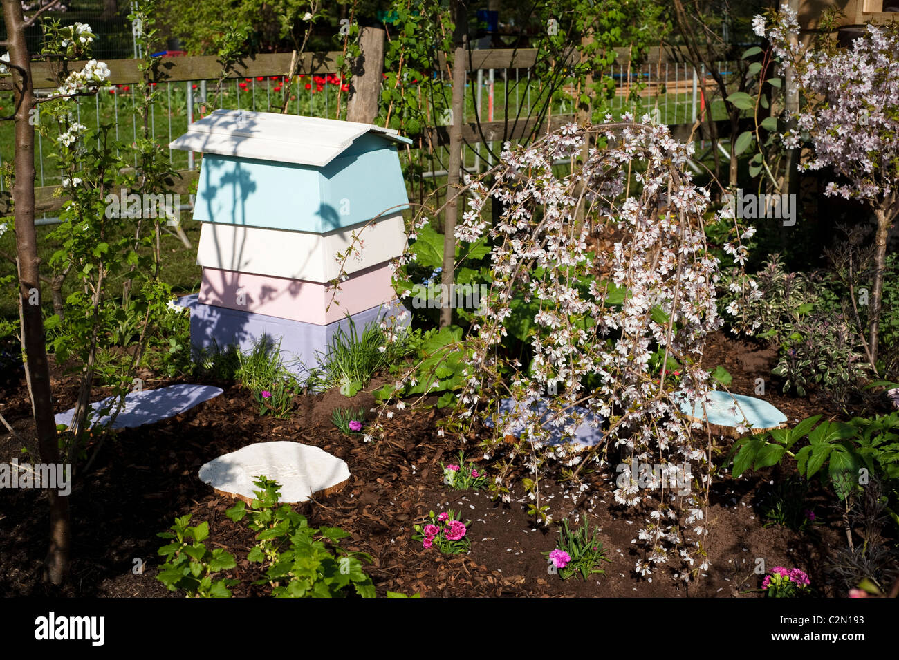 'Sweet Retreat' show garden at RHS Cardiff Flower Show 2011, Wales, United Kingdom - Stock Image