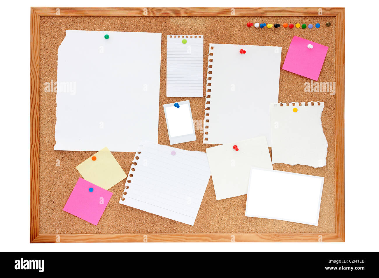 empty paper, documents, photos and notes pinned onto a pinboard or noticeboard - Stock Image