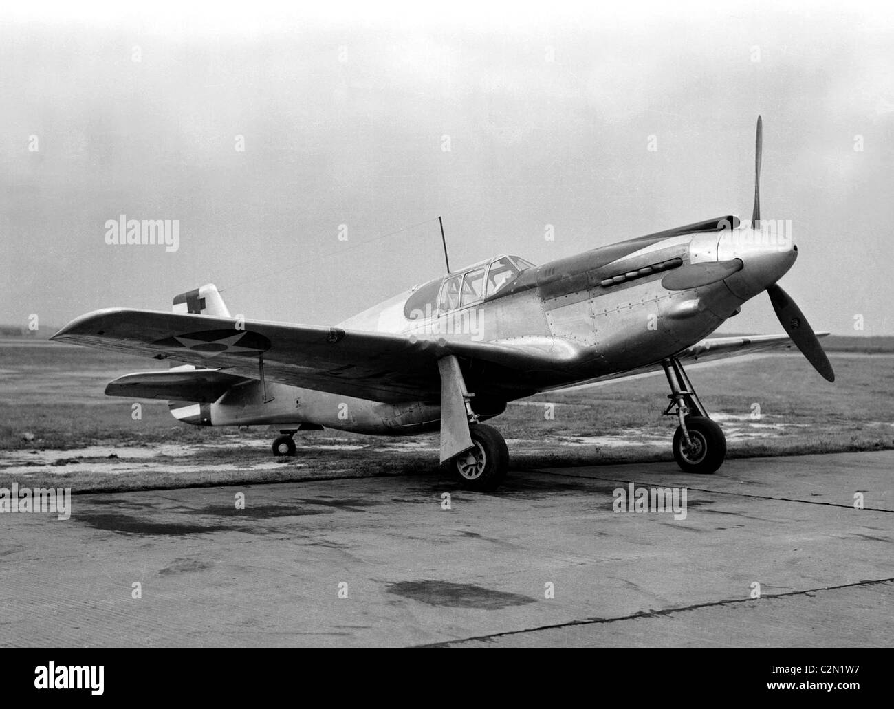 North American Aviation P-51 Mustang was an American long-range single-seat World War II fighter aircraft. - Stock Image