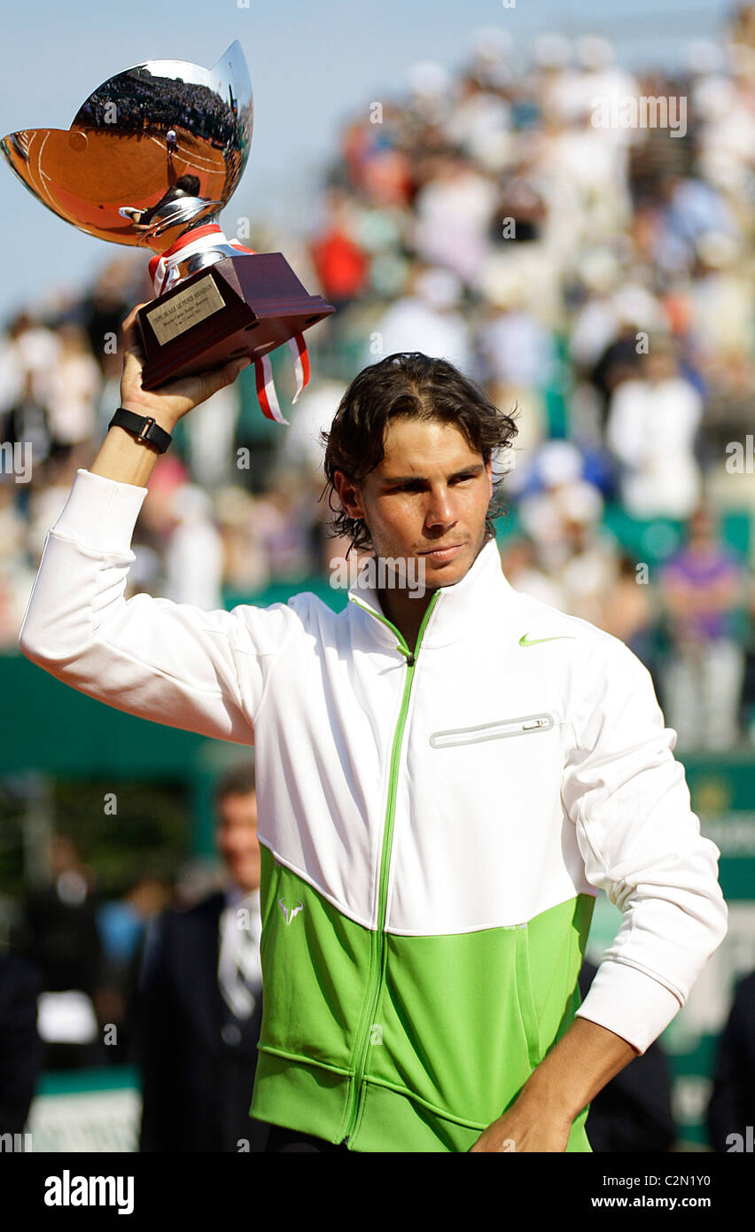 Rafael Nadal made history as he claimed his seventh successive Monte Carlo Masters title with a 6-4 7-5 victory - Stock Image