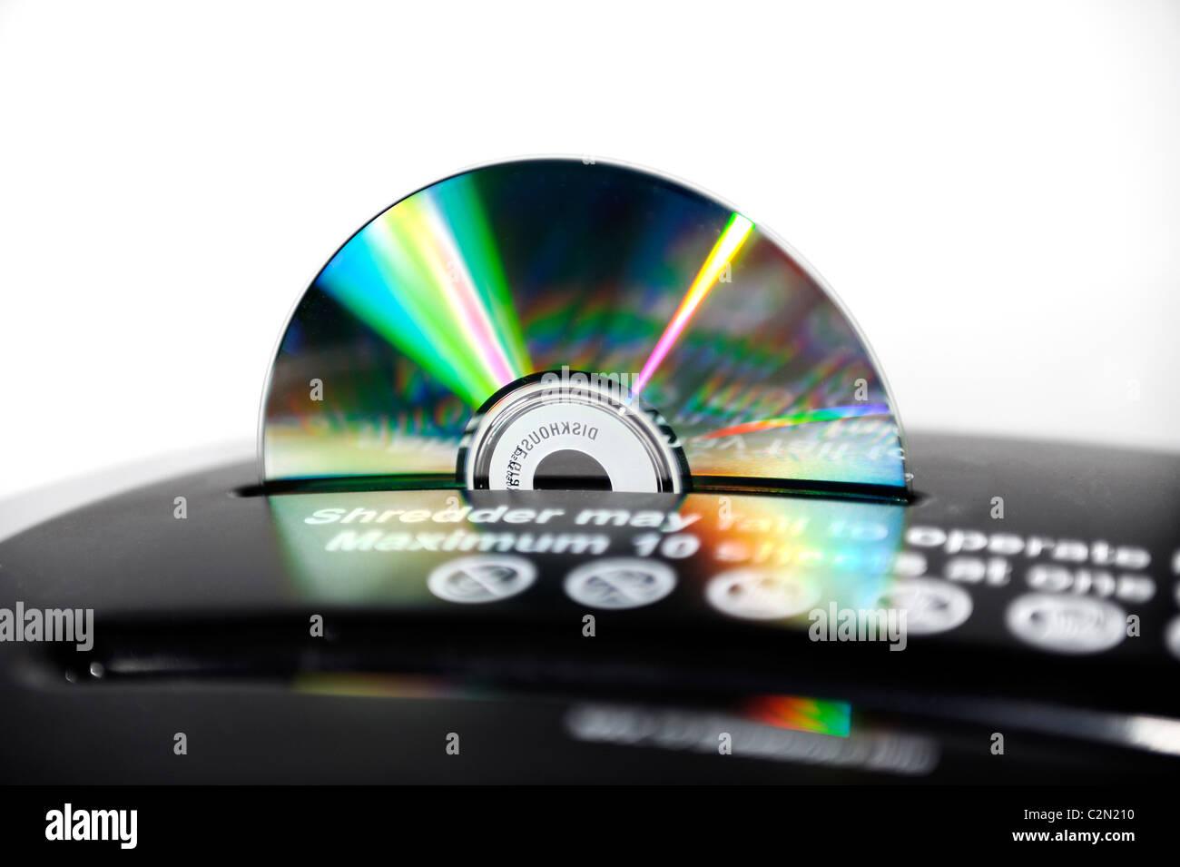 cd compact disc in shredder england uk - Stock Image
