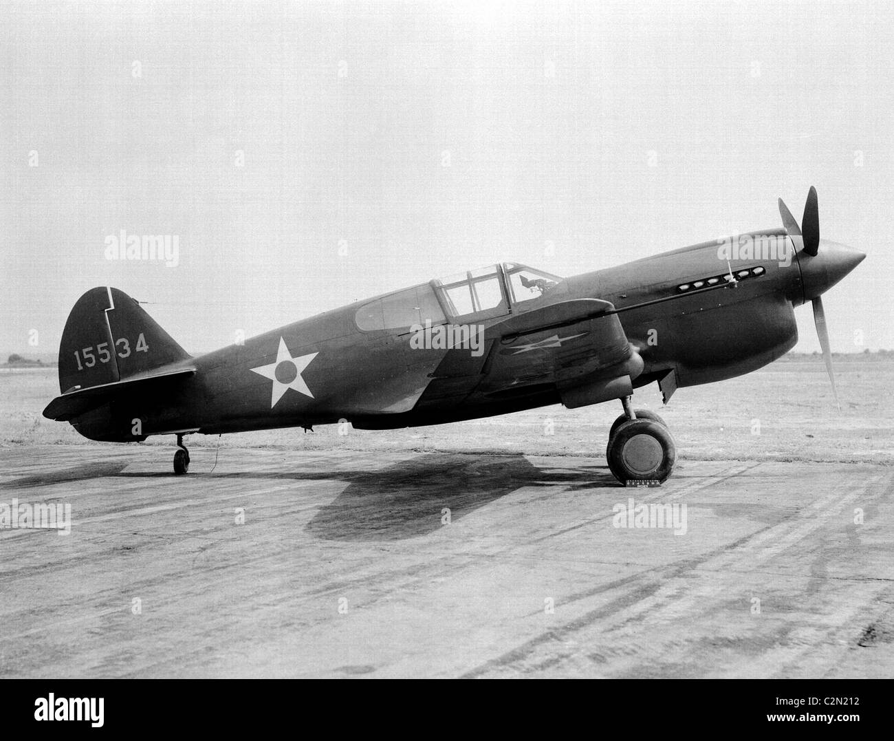 Curtiss P-40 Warhawk was an American single-engine, single-seat, all-metal fighter and ground attack aircraft. - Stock Image