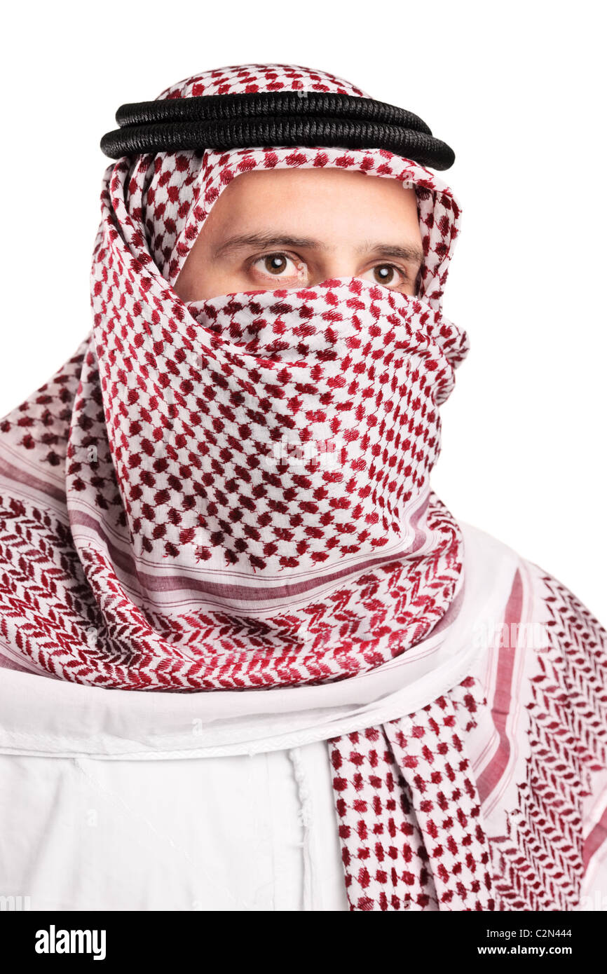 Portrait of a young Arab wearing a turban - Stock Image