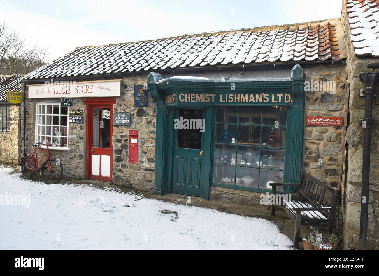 Village Shop and Chemist at the Ryedale Folk Museum, Hutton-Le-Hole - Stock Image