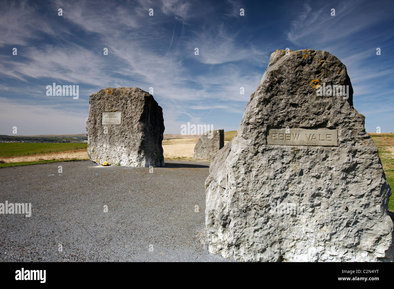 Memorial to Aneurin Bevan, between Tredegar and Ebbw Vale, South Wales, UK - Stock Image