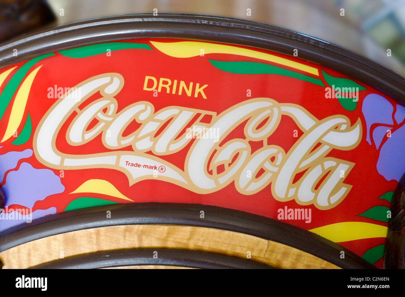 Roy's Ice Cream Parlor has a vintage jukebox with Coke advertising, in Carrizozo, New Mexico. - Stock Image