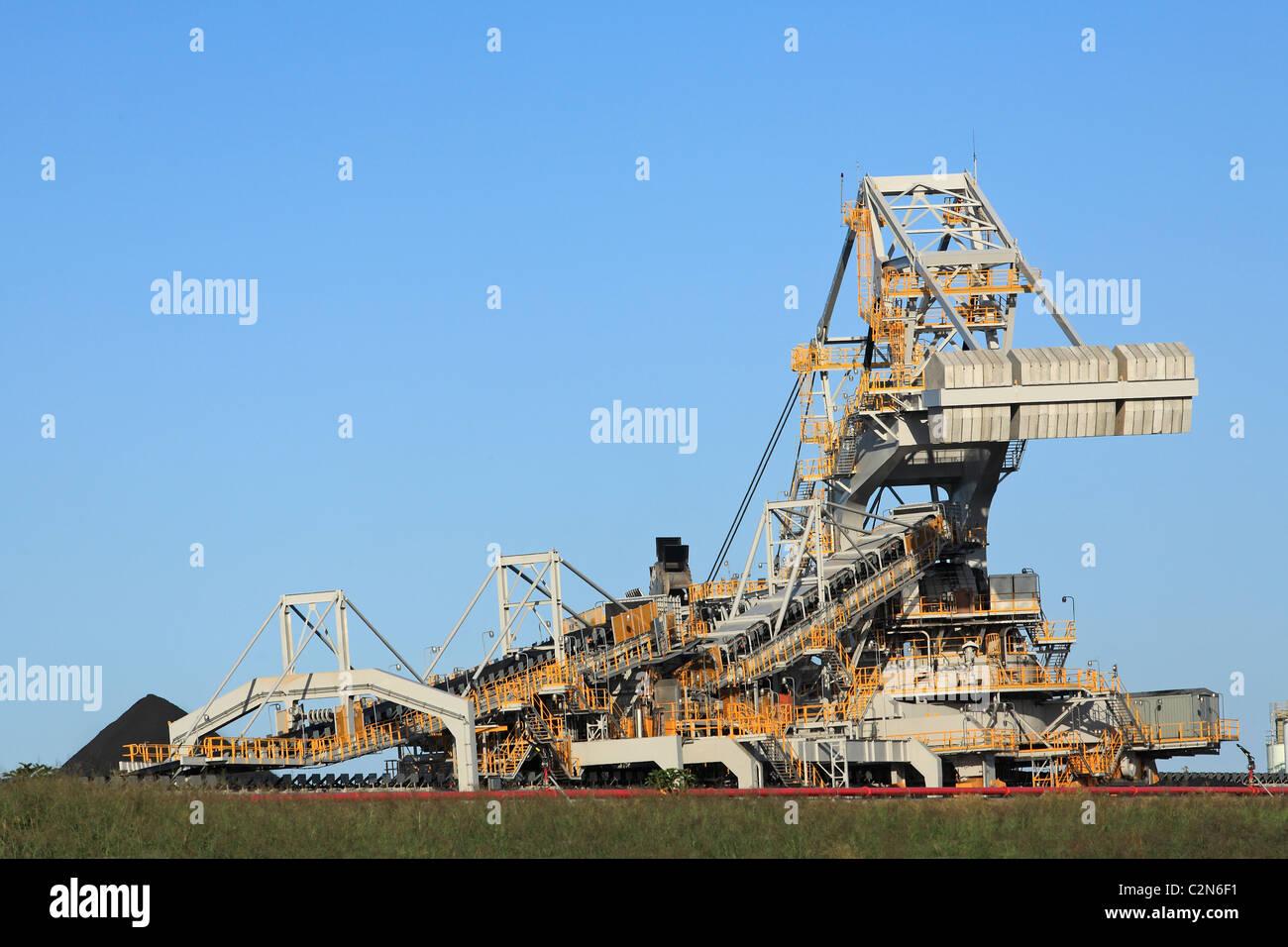 Coal Loading Machinery and Conveyor Belt - Stock Image