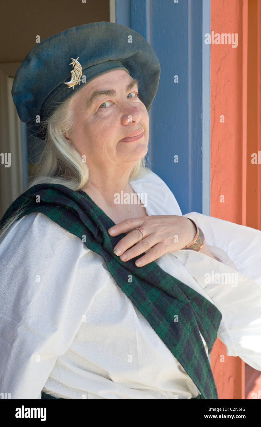 An American woman displays her proud Scottish heritage in Carrizozo, New Mexico. - Stock Image