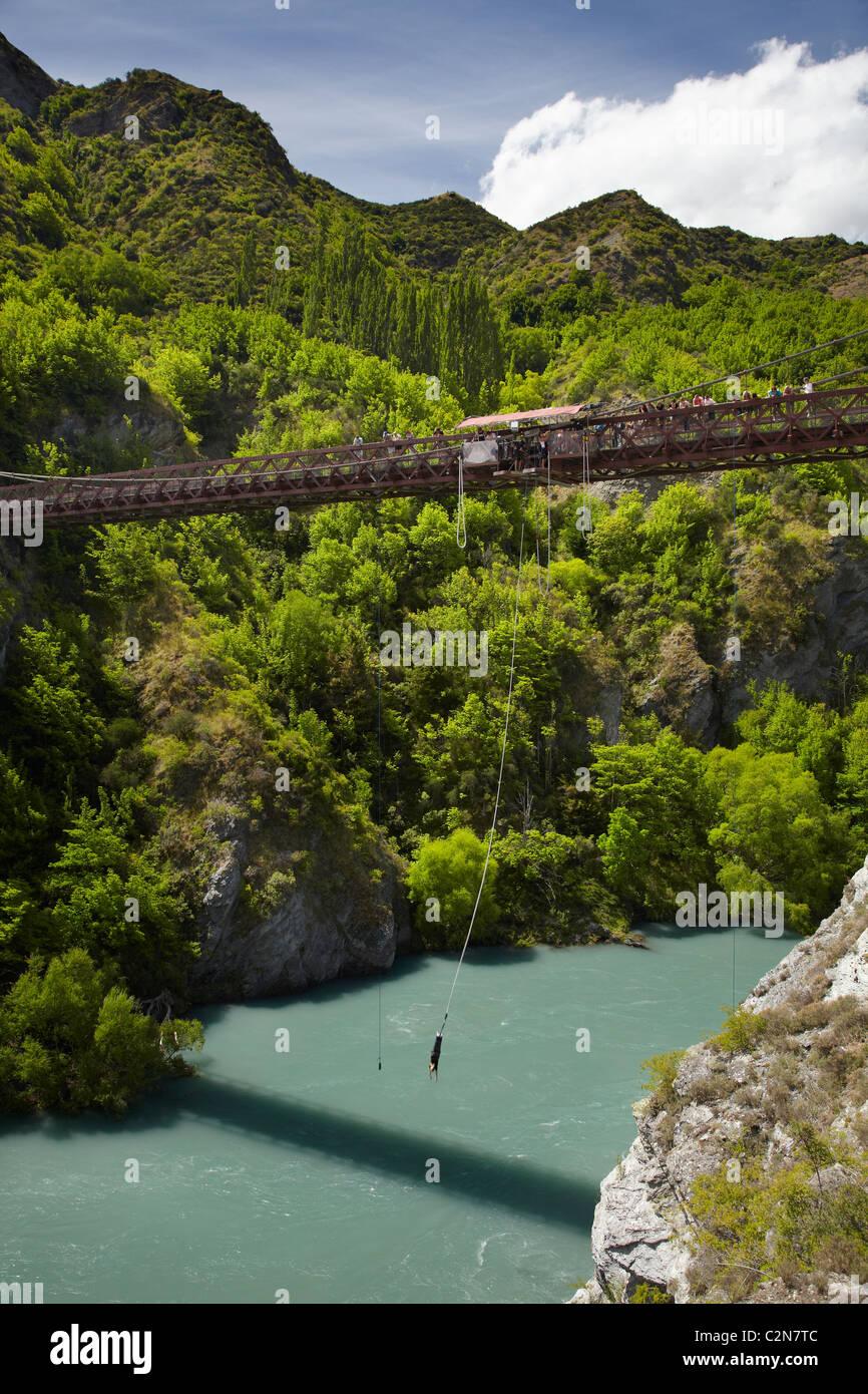 Bungy Jumping from historic Kawarau Bridge, Kawarau River, Kawarau Gorge, Southern Lakes District, South Island, - Stock Image