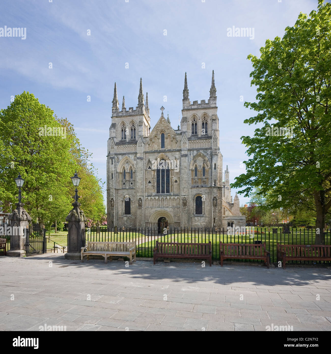 Selby Abbey a medieval abbey church and present day Anglican Parish Church at Selby North Yorkshire U.K - Stock Image