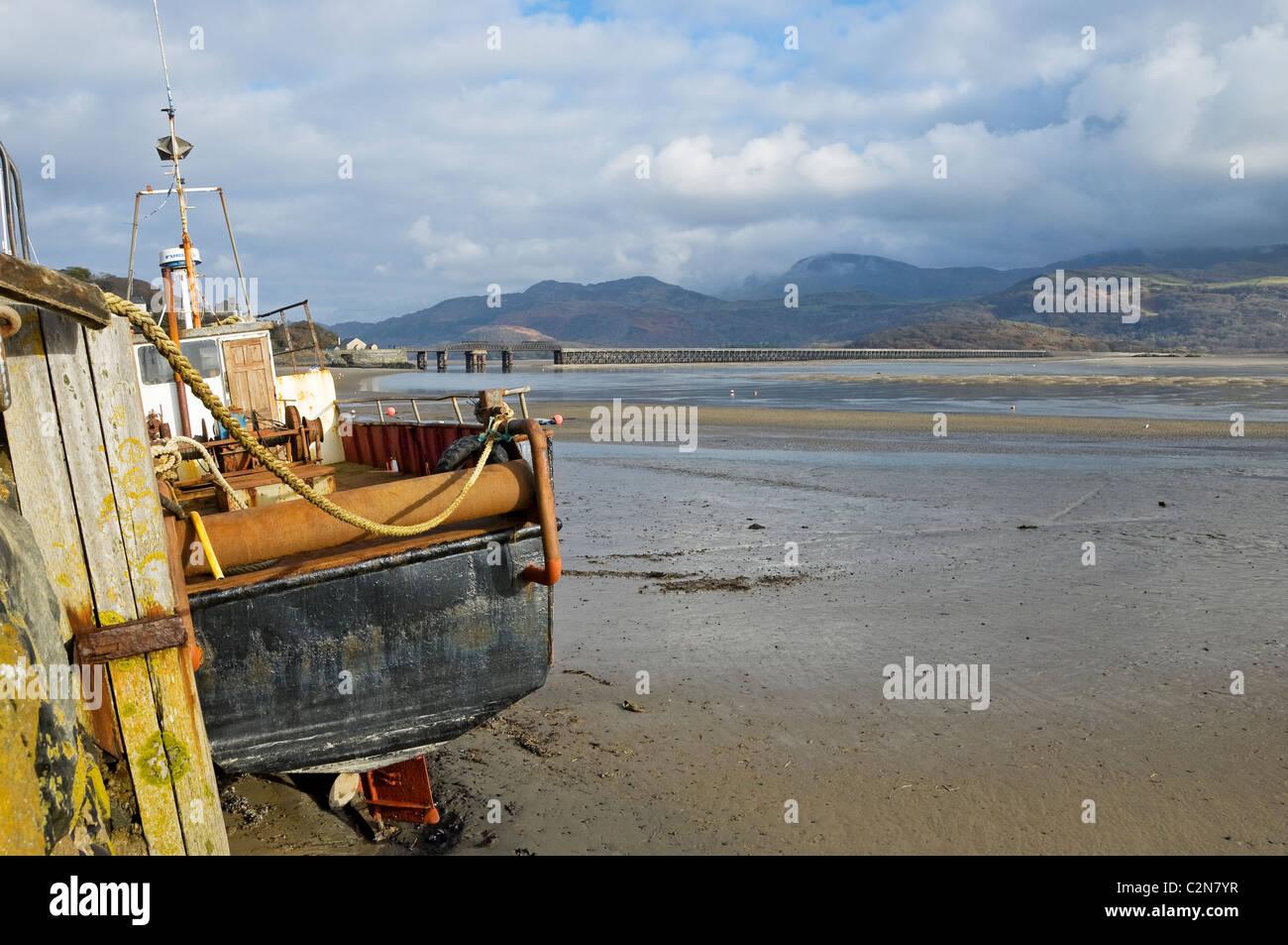 Mawddach Estuary Barmouth at low tide Gwynedd mid Wales UK United Kingdom GB Great Britain Stock Photo