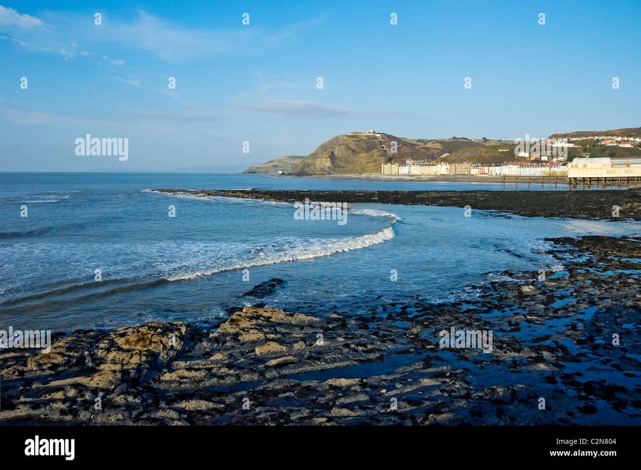 North Beach Aberystwyth Cardiganshire mid Wales UK United Kingdom GB Great Britain - Stock Image