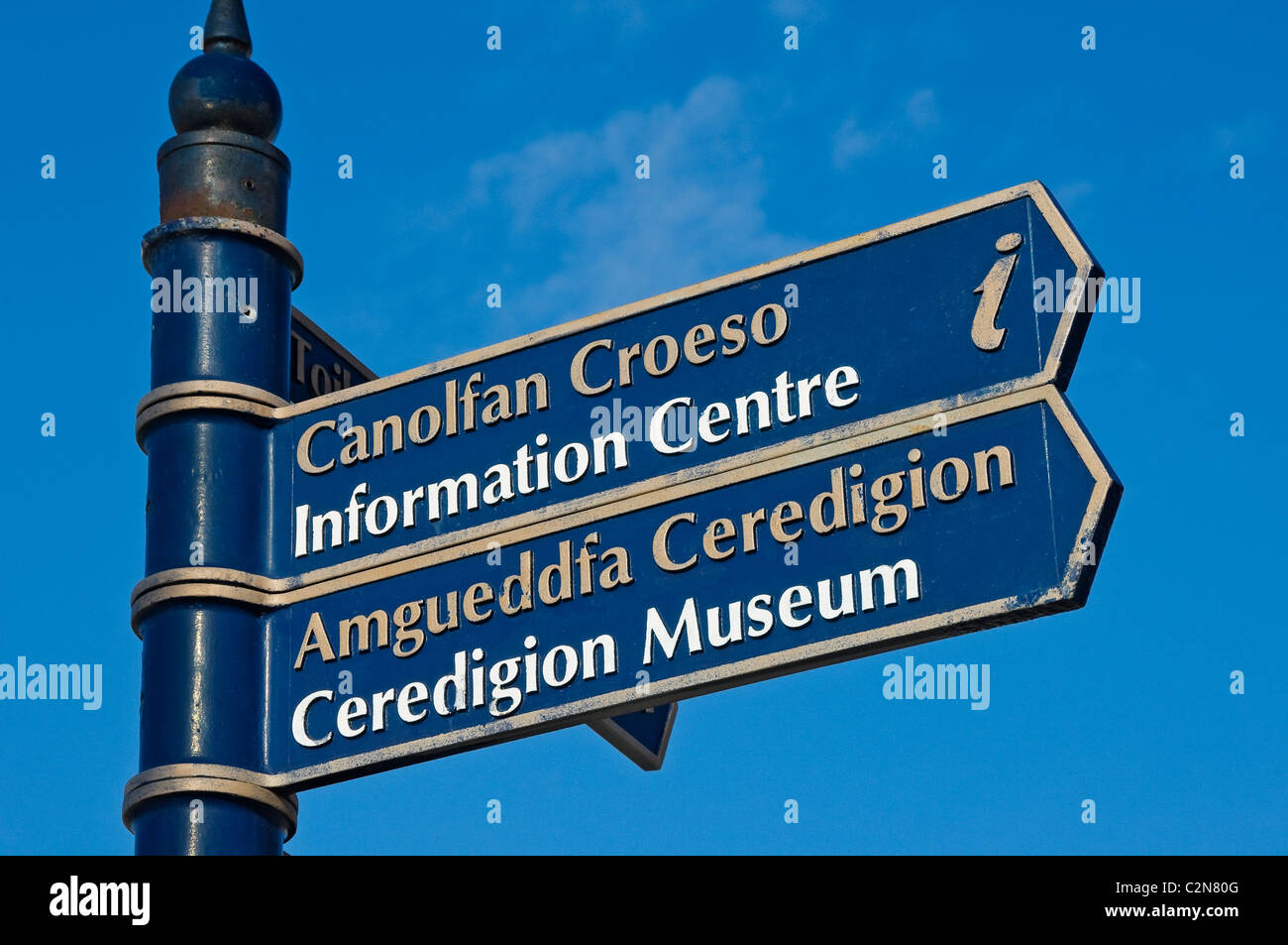 Tourist information signpost Aberystwyth Cardiganshire Wales UK United Kingdom GB Great Britain - Stock Image