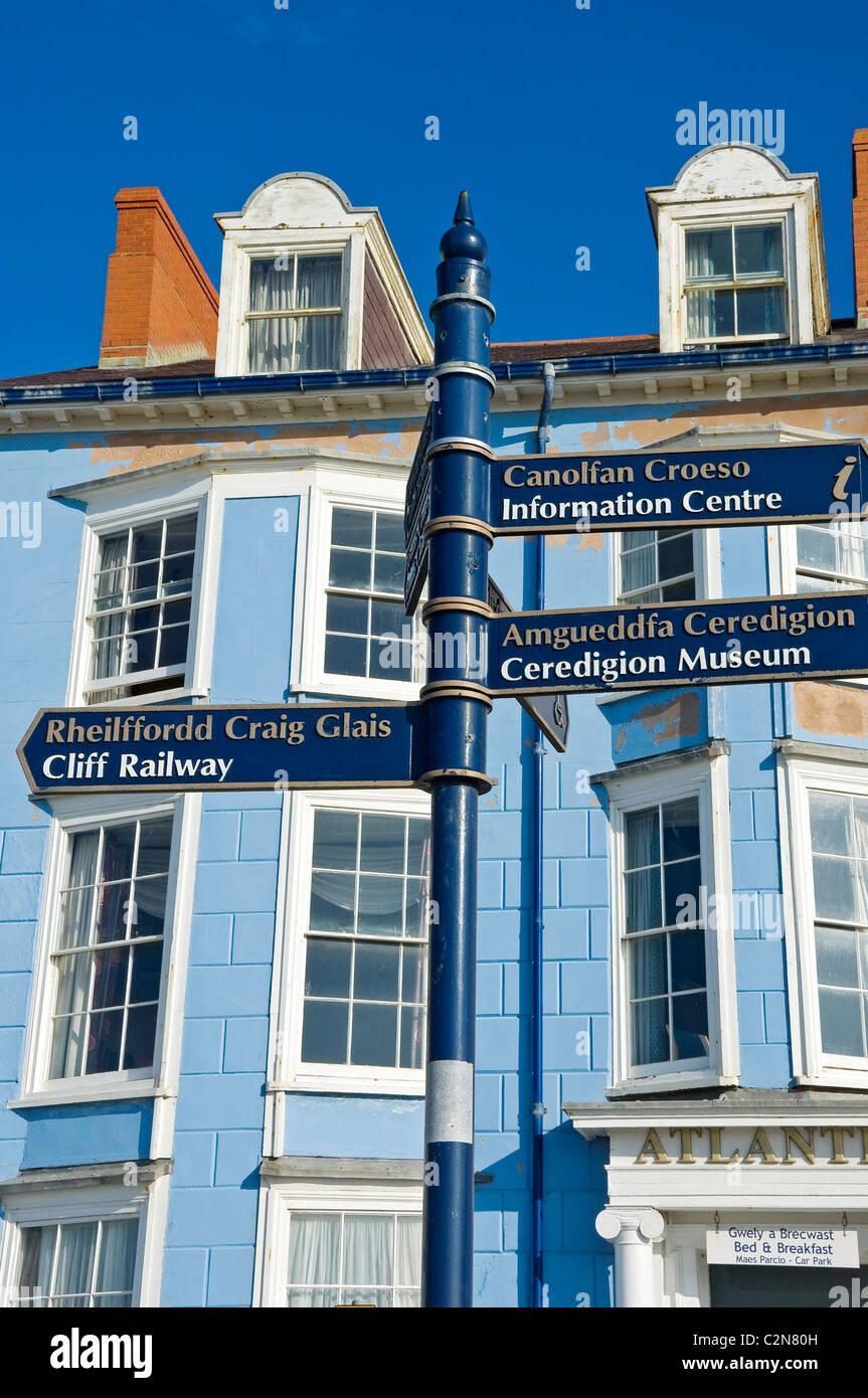 Tourist information signpost Aberystwyth Cardiganshire Wales UK United Kingdom GB Great Britain - Stock Image