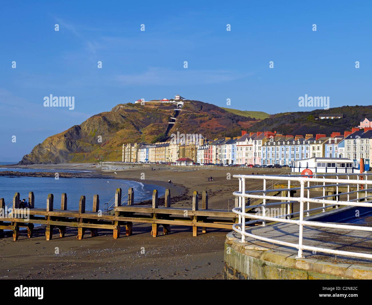 North Beach and Marine Terrace Aberystwyth Cardiganshire mid Wales UK United Kingdom GB Great Britain - Stock Image