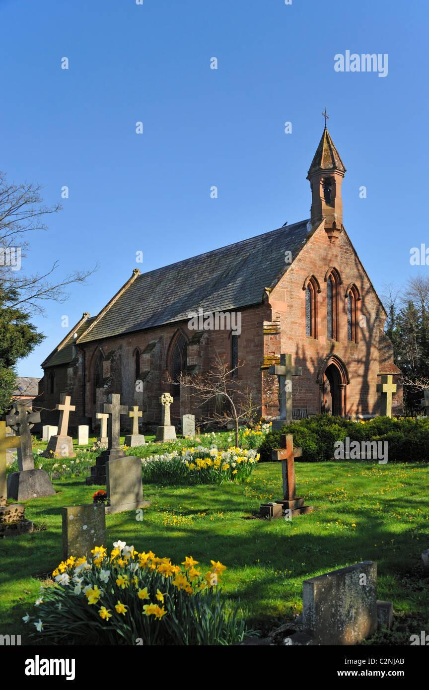 Church of Our Lady and Saint Wilfrid, Warwick Bridge, Cumbria, England, United Kingdom, Europe. - Stock Image