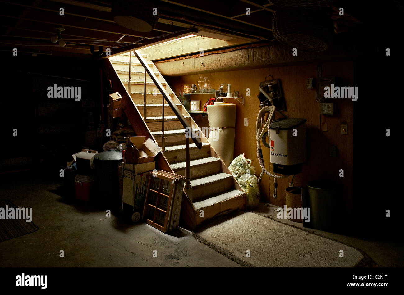 Down Basement Stairs Lighting: Spooky Stairs Stock Photos & Spooky Stairs Stock Images