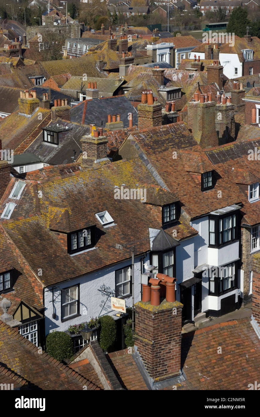 Looking over the roofs of Rye from St Mary Church clock tower, Sussex, England - Stock Image