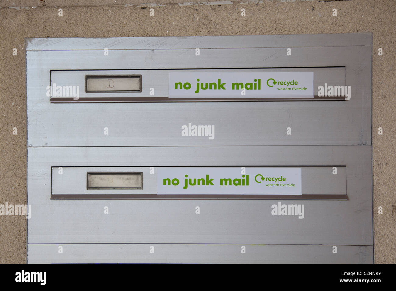 No Junk mail signs on mailboxes - Stock Image