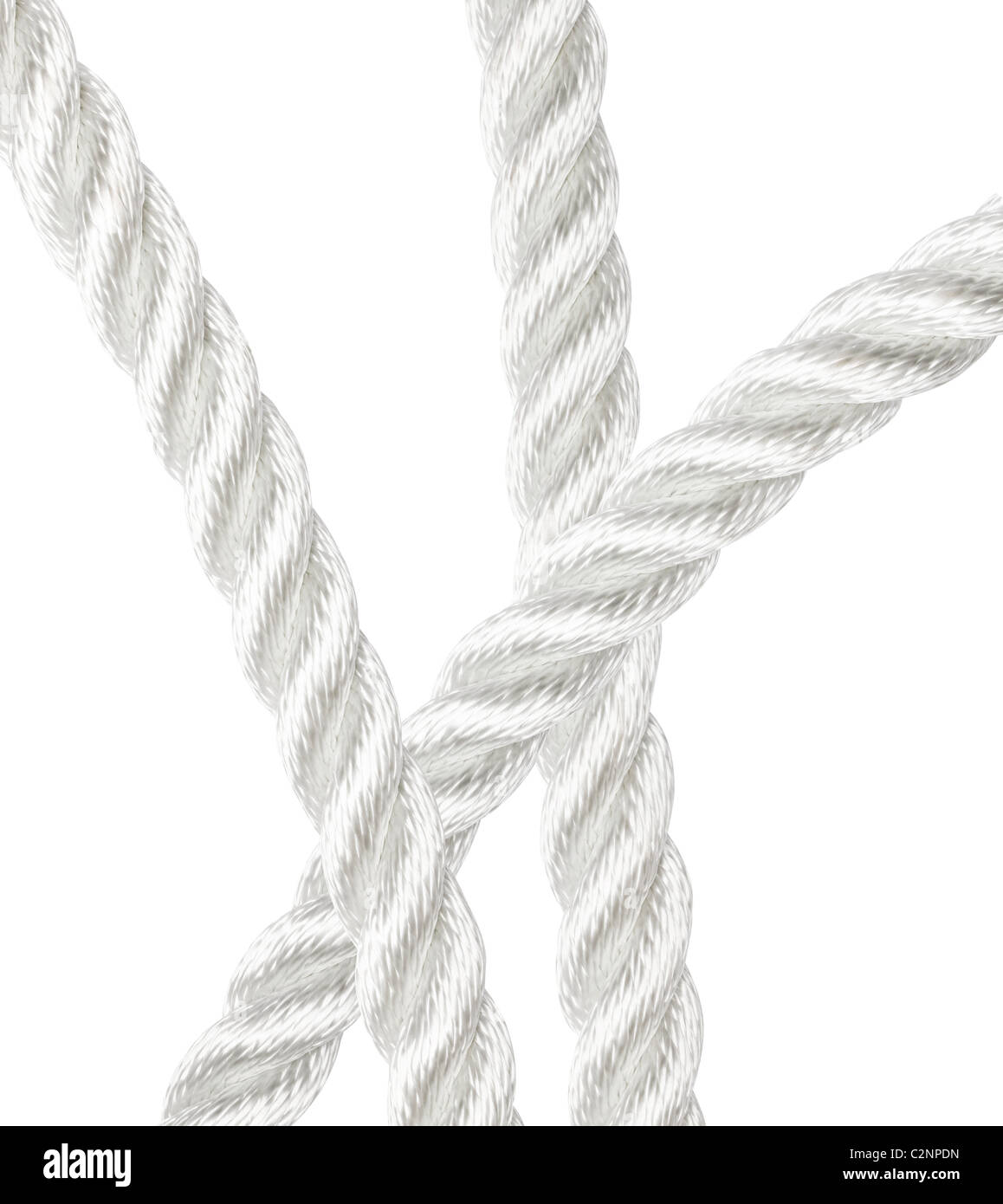 Strong nylon rope overlapping isolated on white - Stock Image