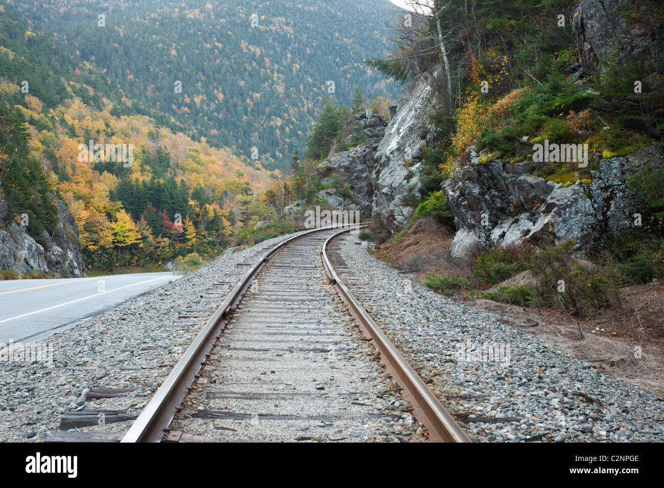 Crawford Notch State Park - Old Maine Central Railroad in the White Mountains, New Hampshire USA. Stock Photo