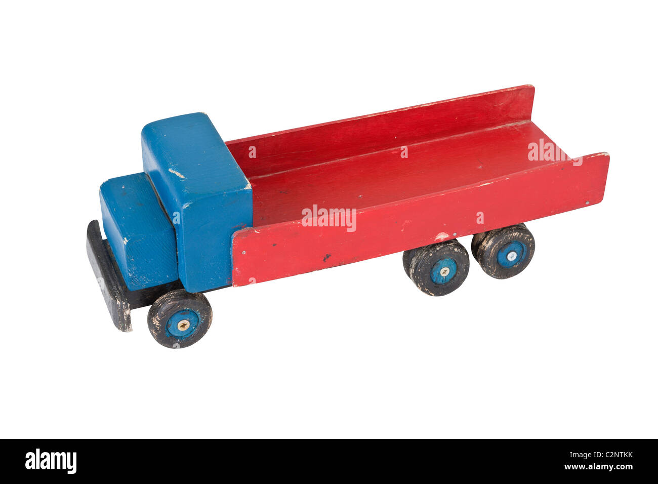 Vintage wooden toy truck - homemade 3/4 view - Stock Image