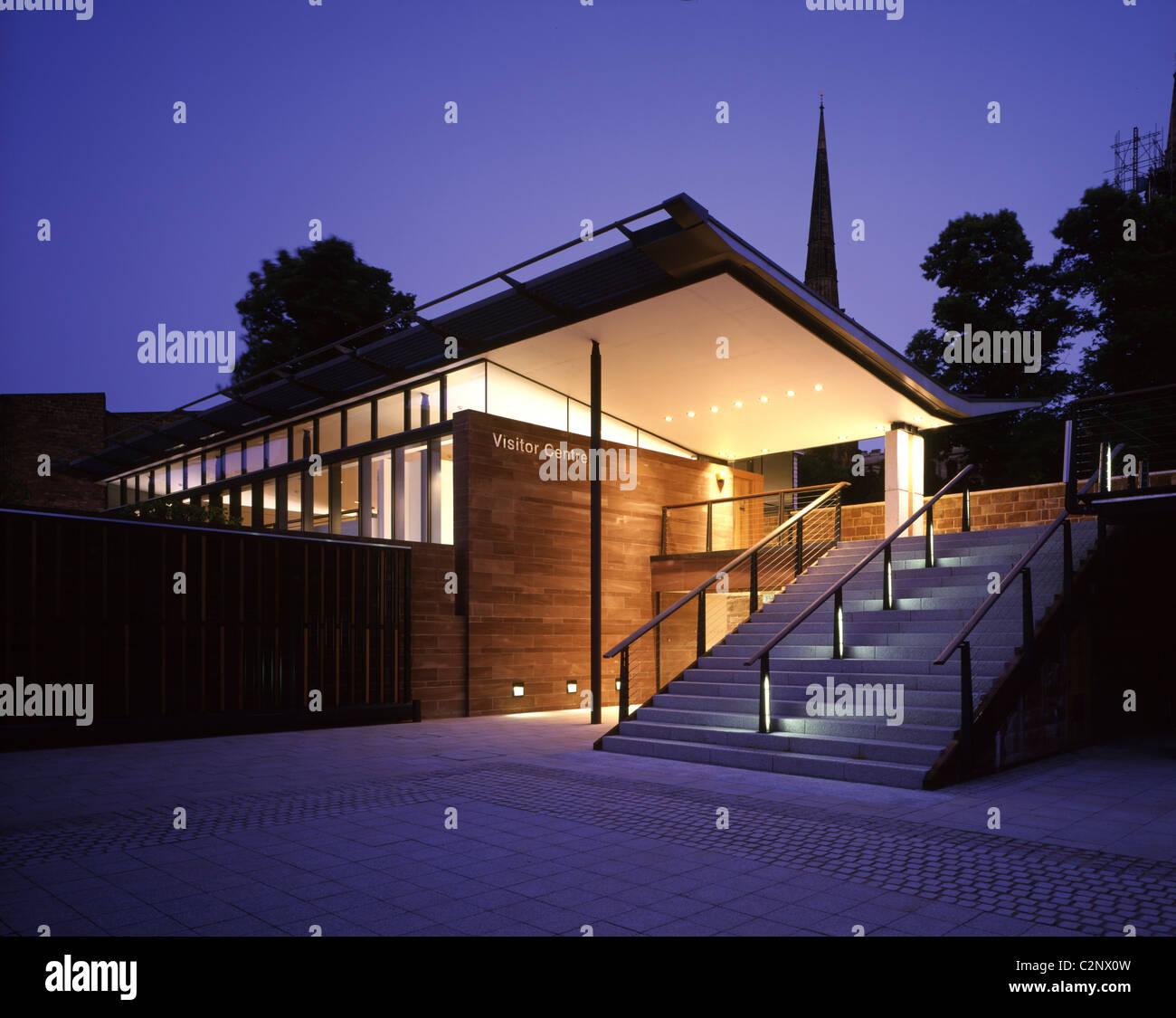 Visitor Interpretation Centre, Coventry. Front entrance to Visitor Centre dusk. - Stock Image