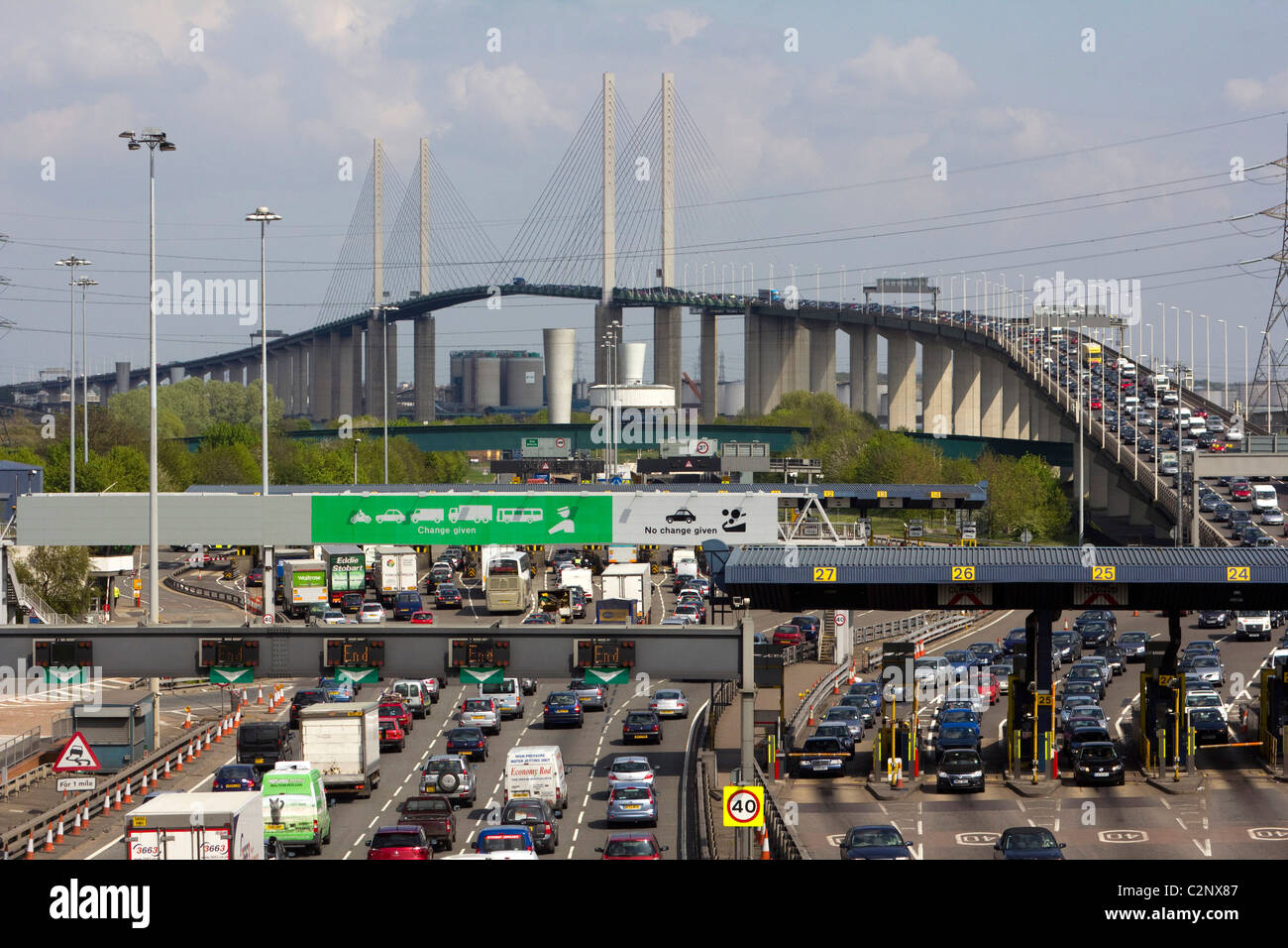 The Queen Elizabeth II Bridge dartford river thames M25 crossing with toll booths , london england uk gb - Stock Image