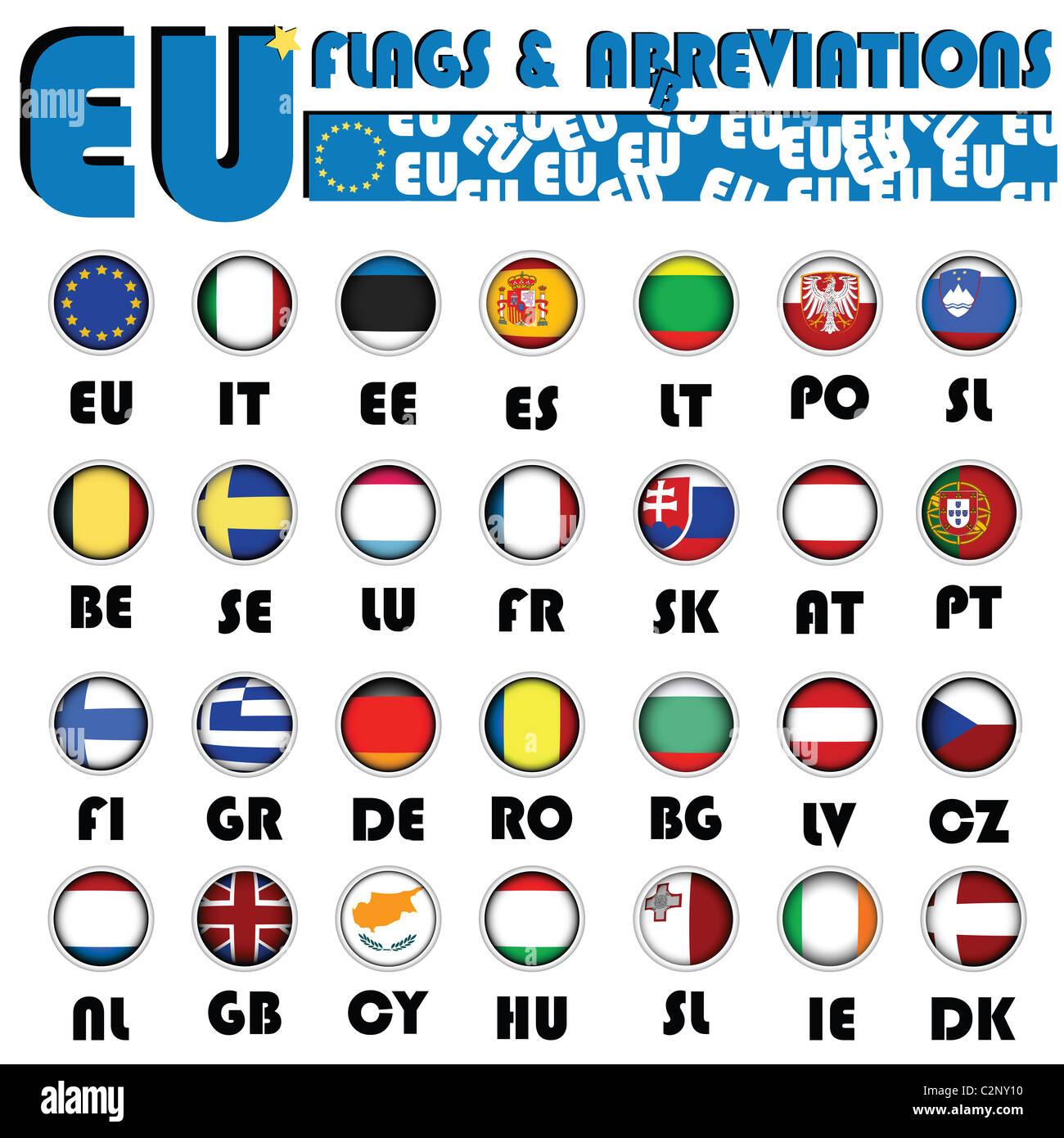 European Union flags - Stock Image