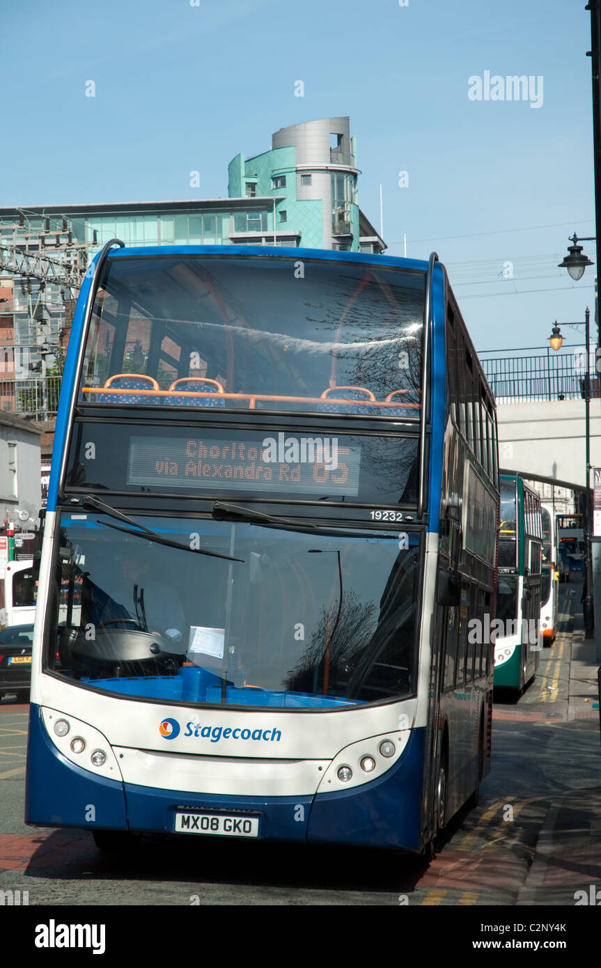 Stagecoach bus on Oxford Road heading away from the city centre,Manchester,UK - Stock Image