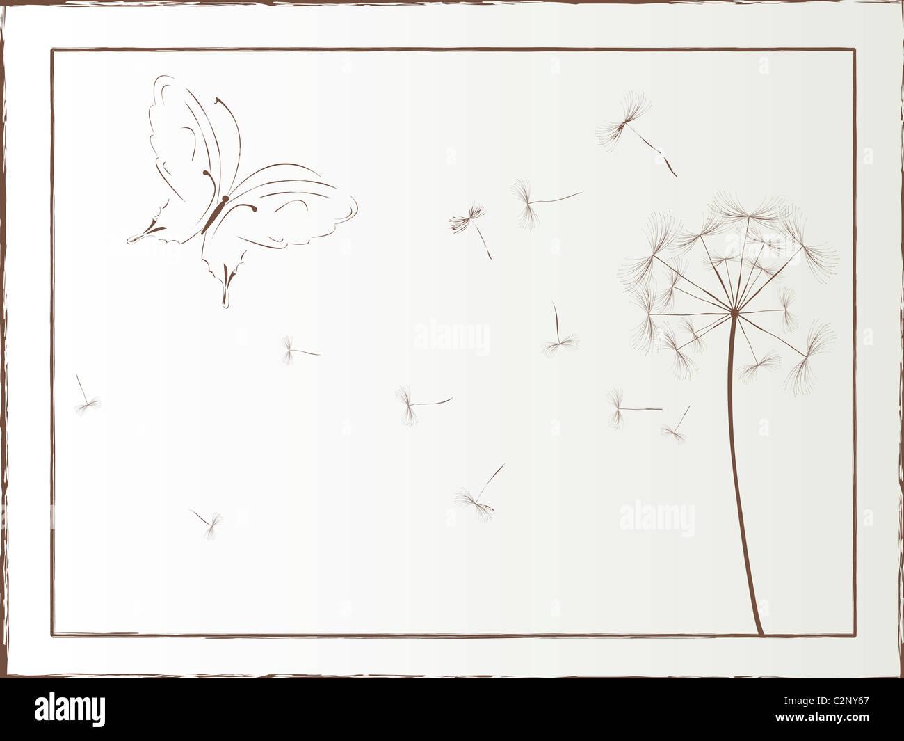 Dandelion and butterfly framed illustration - Stock Image