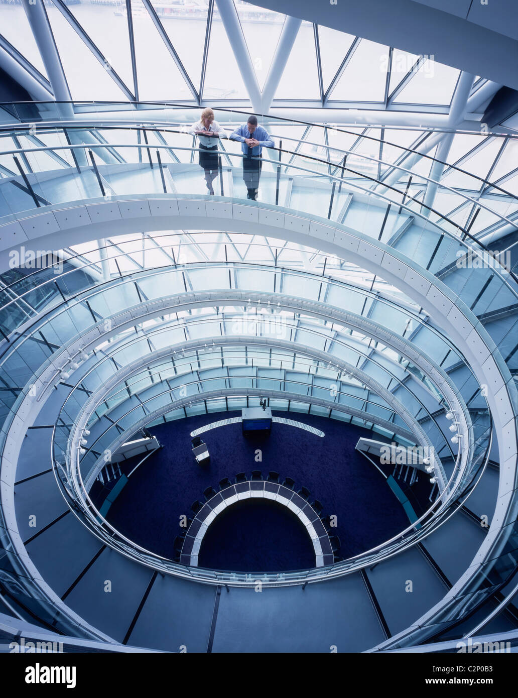 City Hall GLA, London. Staircase looking down at chamber. 1999-2002 - Stock Image