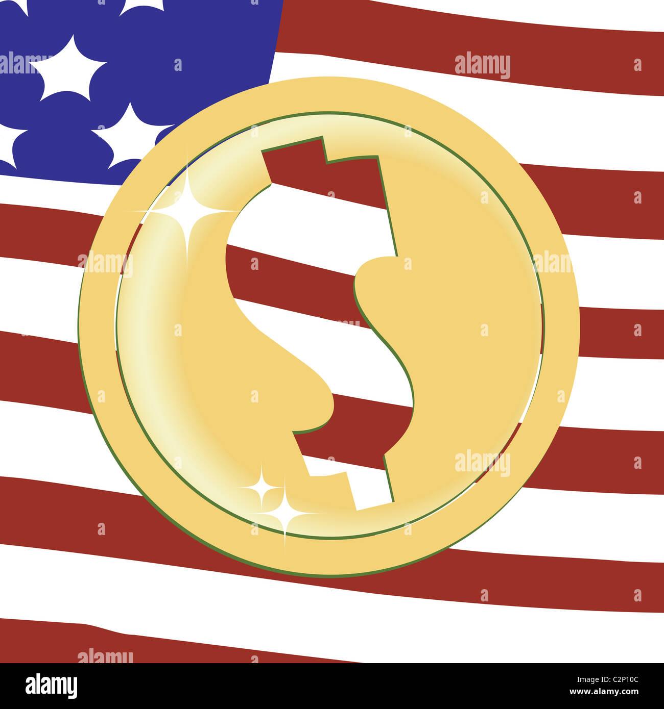 Dollar golden emblem - Stock Image