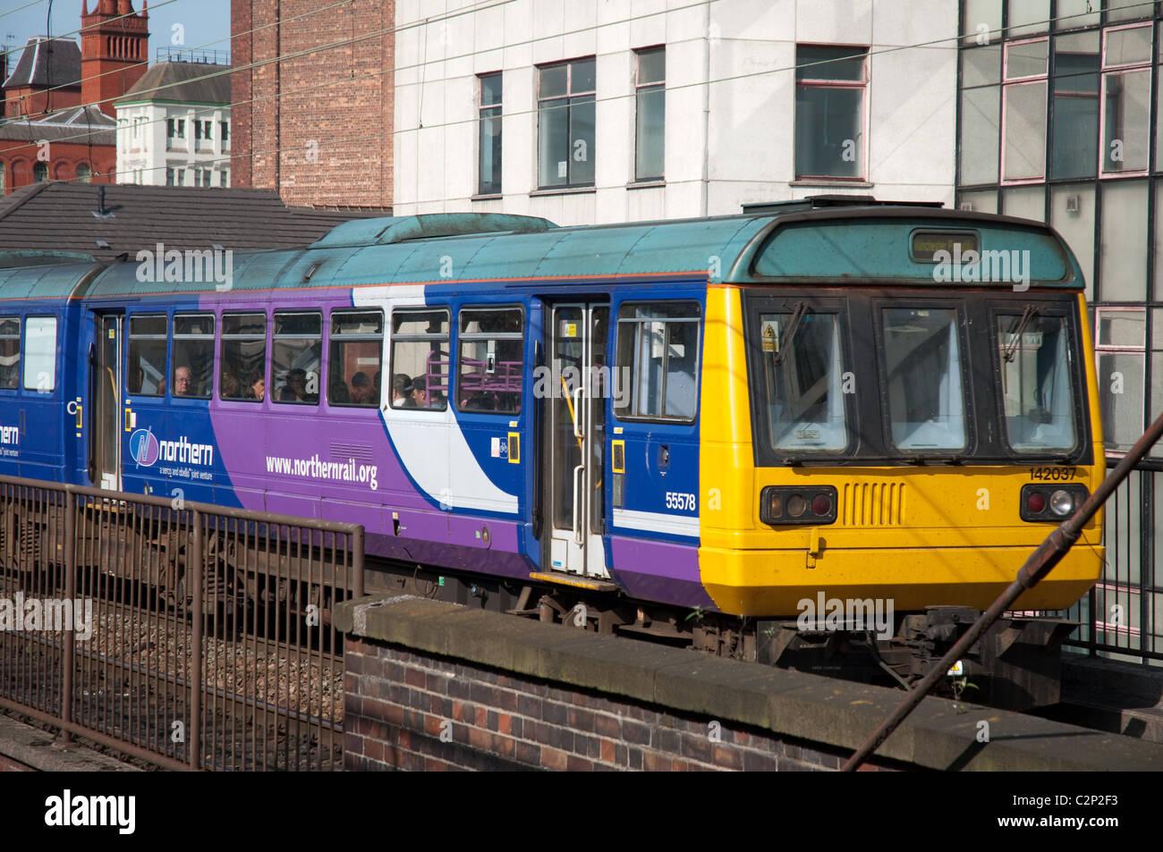 Northern Rail train city centre Manchester - Stock Image