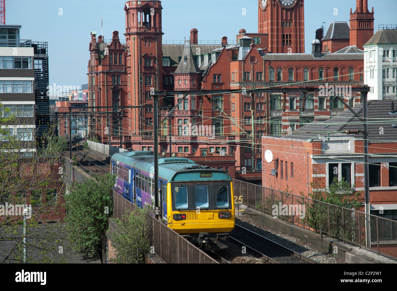 Northern Rail train in Manchester city centre. - Stock Image