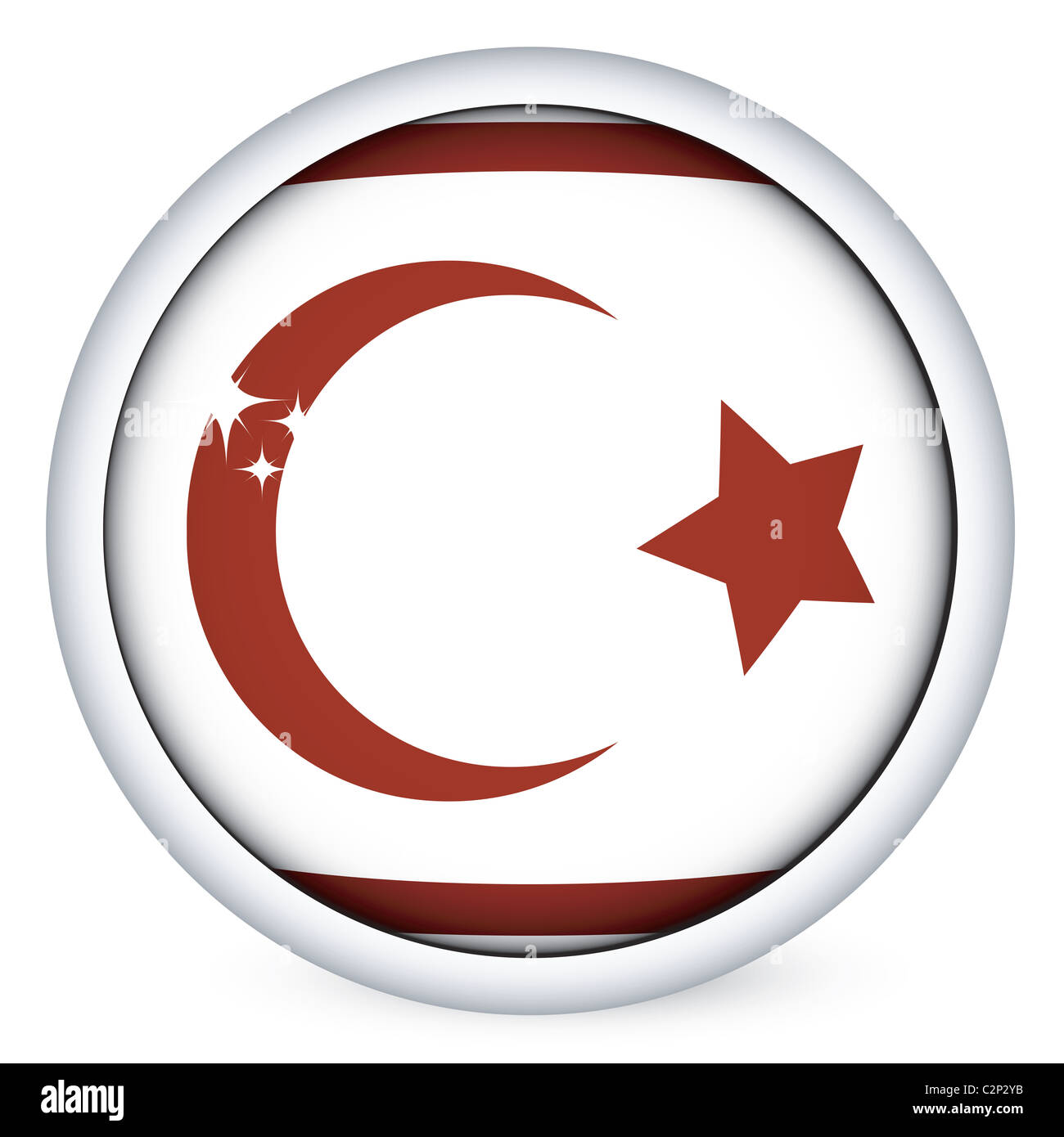 Northen Cyprus flag button - Stock Image