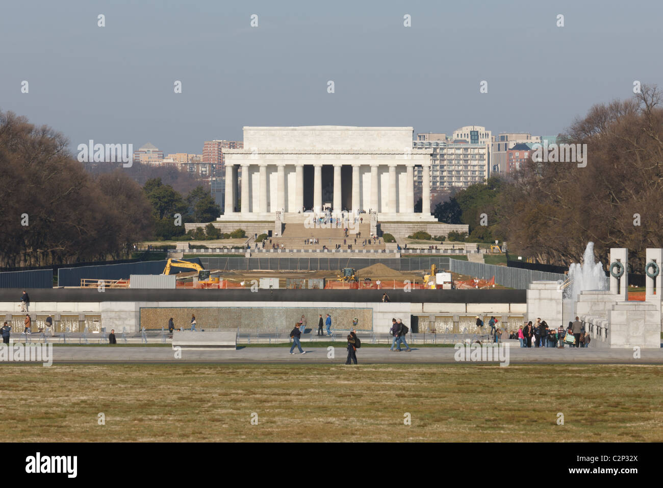 The Lincoln Memorial showing the in-progress renovation of the Reflecting Pool in Washington, DC. - Stock Image